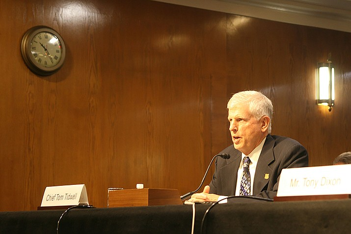 Forest Service Chief Tom Tidwell testifying in a 2015 file photo. Tidwell told a Senate committee June 7 that he is confident his agency will be able to respond to wildfires next year, despite sharp budget cuts proposed by the Trump administration.