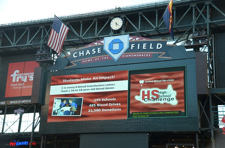 With 21,500 blood donors, teens earned the largest Arizona donor group for 13th year. Arizona High Schools were honored at Arizona Diamondbacks game for giving one in every six blood transfusions in Arizona.