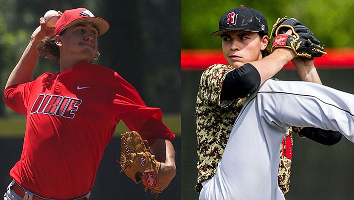 Dylan File, left, was selected by the Milwaukee Brewers in the 21st round of the 2017 MLB Amateur Draft, while Kingman Academy graduate Tarik Skubal, right, was drafted by the Arizona Diamondbacks in the 29th round.