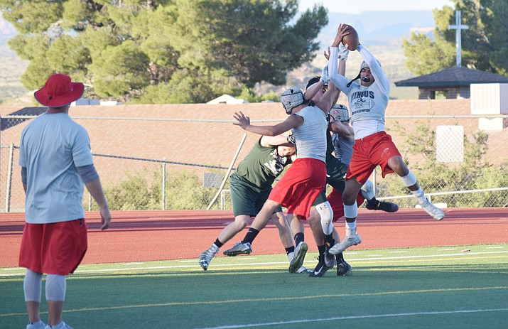 Mingus Union senior Martin Soria intercepts a Flagstaff pass during a 7-on-7 game on Wednesday at home. The Marauders beat the rivals from up north, plus Coconino, Sedona Red Rock and Chino Valley. (VVN/James Kelley)