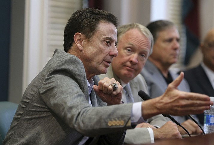 Louisville basketball coach Rick Pitino speaks during a news conference Thursday, June 15. (Pat McDonogh/AP)