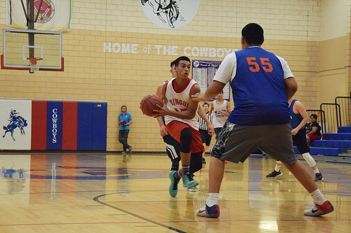 Mingus Union senior Jose Pacheco surveys the court against Camp Verde in the Cowboy Summer Shootout. The Marauders won the match up of the Verde Valley rivals. (VVN/James Kelley)