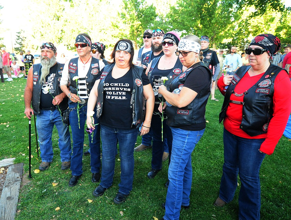 Bikers Against Child Abuse had a group of 25 come to the candlelight vigil in honor of ten-year-old Christian Pearson at Memory Park in Chino Valley  Saturday, June 17. (Les Stukenberg/Courier)