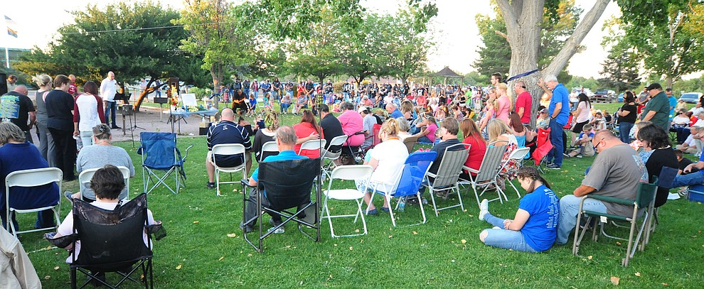 Over 300 attended a candlelight vigil in honor of ten-year-old Christian Pearson at Memory Park in Chino Valley  Saturday, June 17. (Les Stukenberg/Courier)