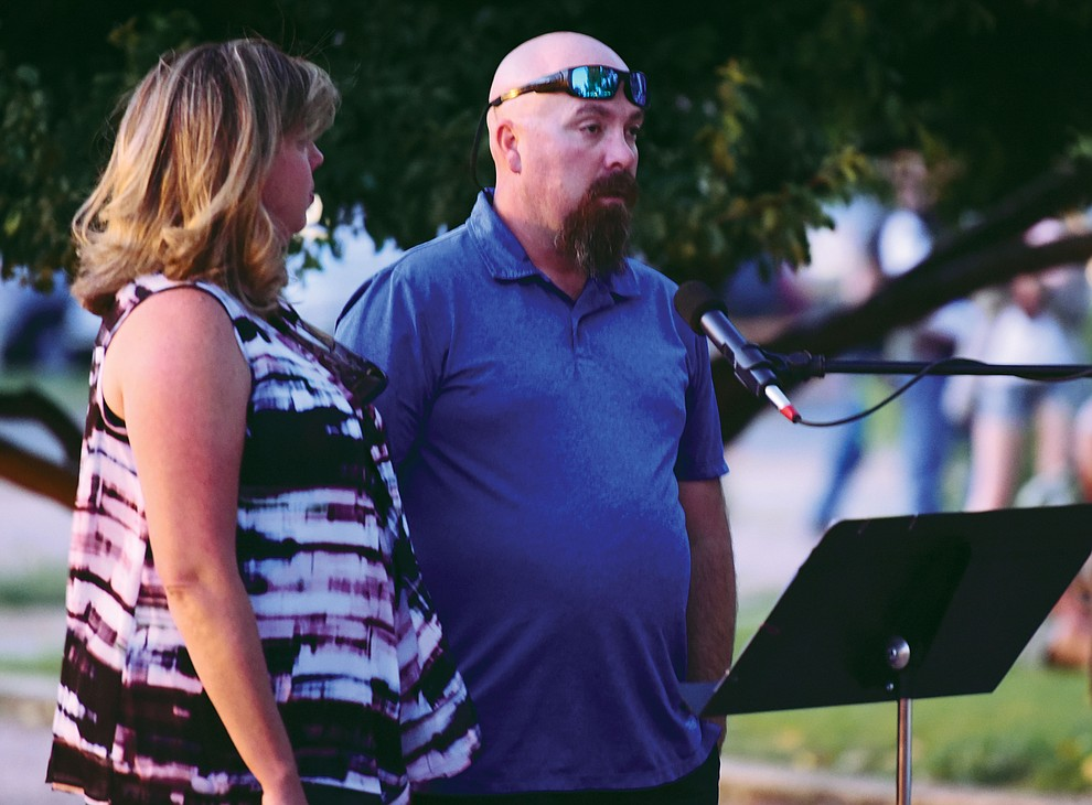 Uncle Richard Moreno spoke for the family during a candlelight vigil in honor of ten-year-old Christian Pearson at Memory Park in Chino Valley  Saturday, June 17. (Les Stukenberg/Courier)