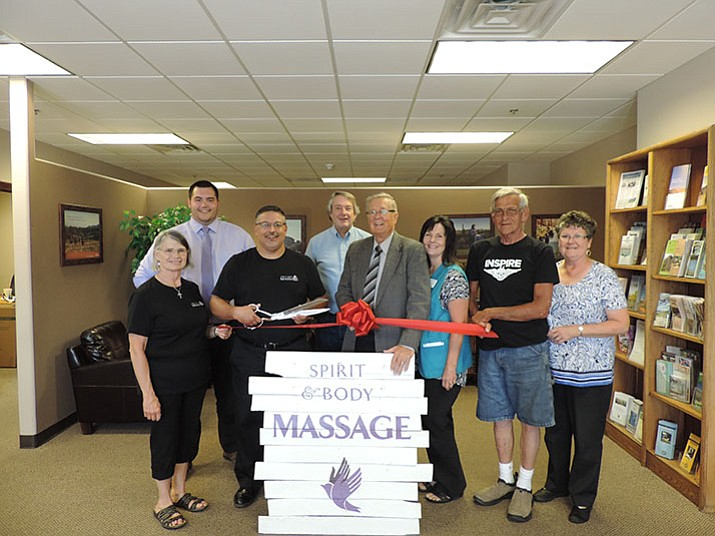 Pictured are: Roxanne Morris; Brady Cabral, Chamber membership manager; Robert Morris, Owner and LMT; Mayor Harvey Skoog; Paul Morris; Gloria Grose, Chamber operations and events manager; and the Chamber ambassadors. (PV Chamber/Courtesy)