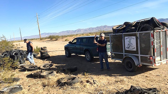 "Volunteers of the Golden Valley Cactus Cleaners go out to the surrounding desert area to clean-up illegal, ""wildcat,"" dumping sites."