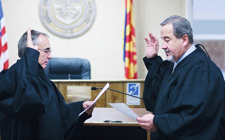 Wednesday, the Camp Verde Town Council could approve a new two-year agreement with Camp Verde Magistrate Judge Paul Schlegel, pictured right with former Camp Verde Magistrate Judge Harry Cipriano. (Photo by Bill Helm)