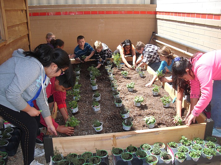 Students work in the expanded garden at Del Rio Elementary School.