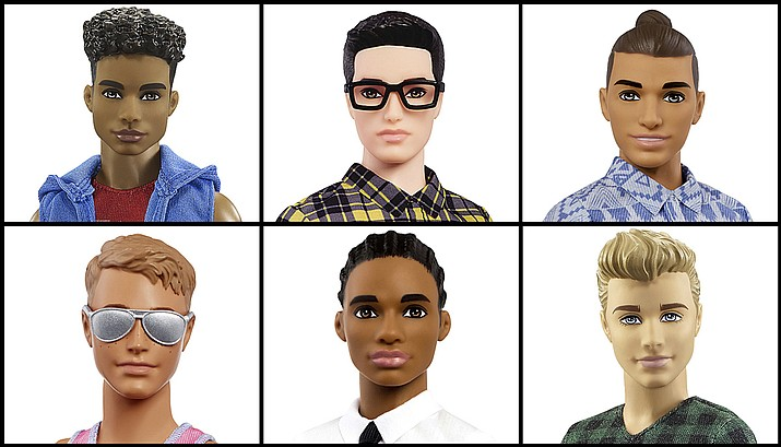 Mattel announced Tuesday, June 20, 2017, that the company is introducing 15 new looks for the the Ken doll, giving him new skin tones, body shapes and hair styles. (Courtesy of Mattel via AP)