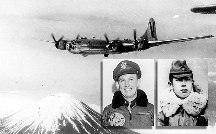 "Inset: Army Air Force Navigator, 2nd Lt. Raymond F. ""Hap"" Halloran and Japanese pilot Cpl. Hideichi Kaiho. Background: A B-29 Superfortress over Japan. (US Air Force photo)"