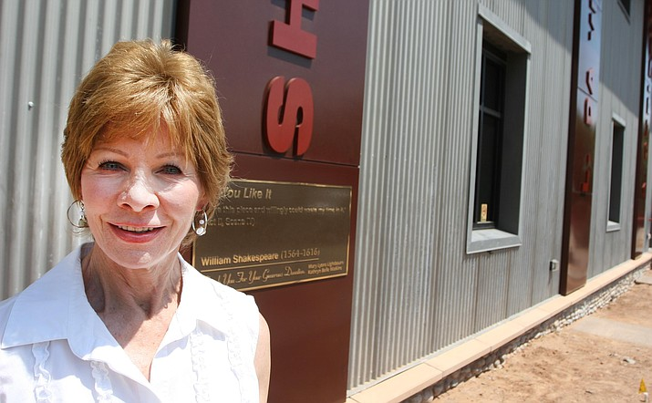 The Friends of the Camp Verde Library have taken on the library's panel and plaque author project. Pictured, Jeannette Teets, president of the Friends group. (Photo by Bill Helm)