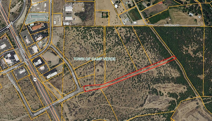 In red, the proposed extension of Homestead Parkway in Camp Verde heading northeast from Davidson Drive. (Photo courtesy of the Town of Camp Verde)