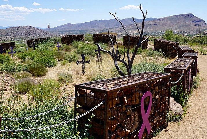 Granite Mountain Hotshots Memorial State Park south of Yarnell includes a trail that leads to the fatality site, where 19 gabions honor 19 fallen Hotshots. (Cindy Barks/Courier)