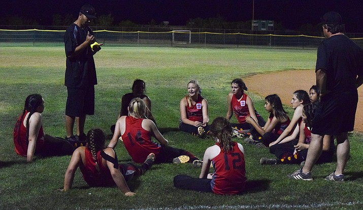 Verde Valley Little League's majors softball all-stars meet after their 2-1 win over Williams on Friday night in Wickenburg. VVLL advanced to the district 10 championship game.  (VVN/James Kelley)