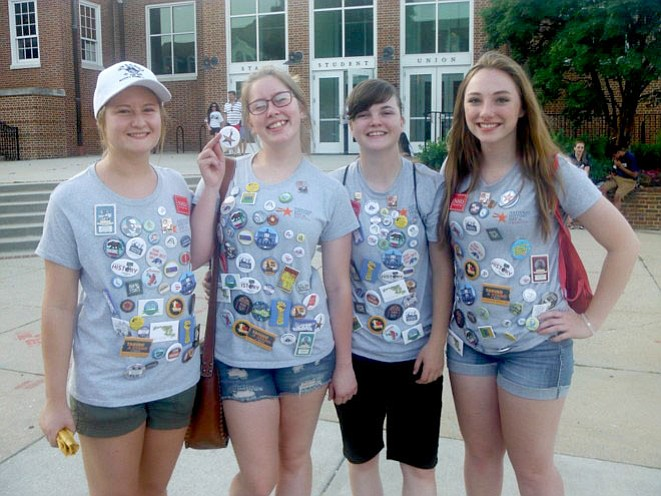 From left are Kaelyn Darst, Taylor Knippenberg, Amanda Ward and Hannah Finley. Taylor is holding up the Arizona button.