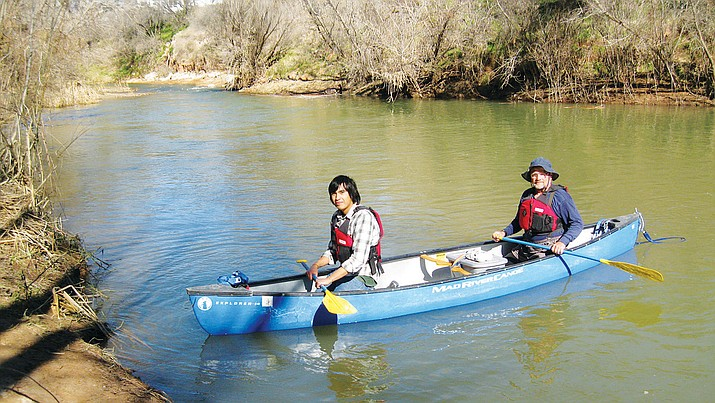 Camp Verde Economic Development Director Steve Ayers is hoping John Parsons'  (in rear of canoe) Verde River legacy will be memorialized by naming the Camp Verde's newest riverfront park after him. (Photo courtesy of John Parsons)