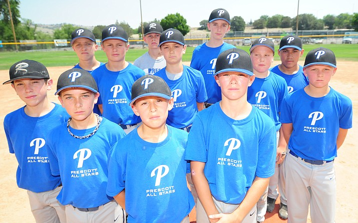 The Prescott Majors All-Stars team (ages 10-12) gather on the mound following practice Saturday in Prescott. The Little League District 10 Majors All-Stars Tournament begins Wednesday, June 28, at Bill Vallely Field in Prescott. An Arizona Little League All-Stars State Tournament bid is on the line. (Les Stukenberg/Courier)