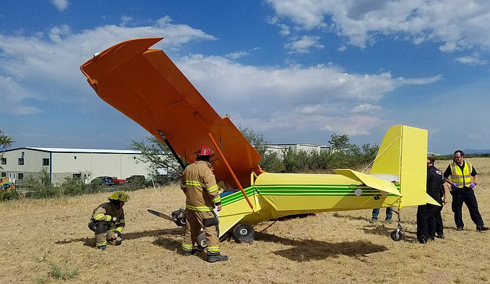Cottonwood Fire and Medical Department and the Cottonwood Police Department responded to two aircraft accidents at the Cottonwood Airport on Monday. The plane seen in this photo was involved in the second incident. (Photo courtesy of City of Cottonwood)