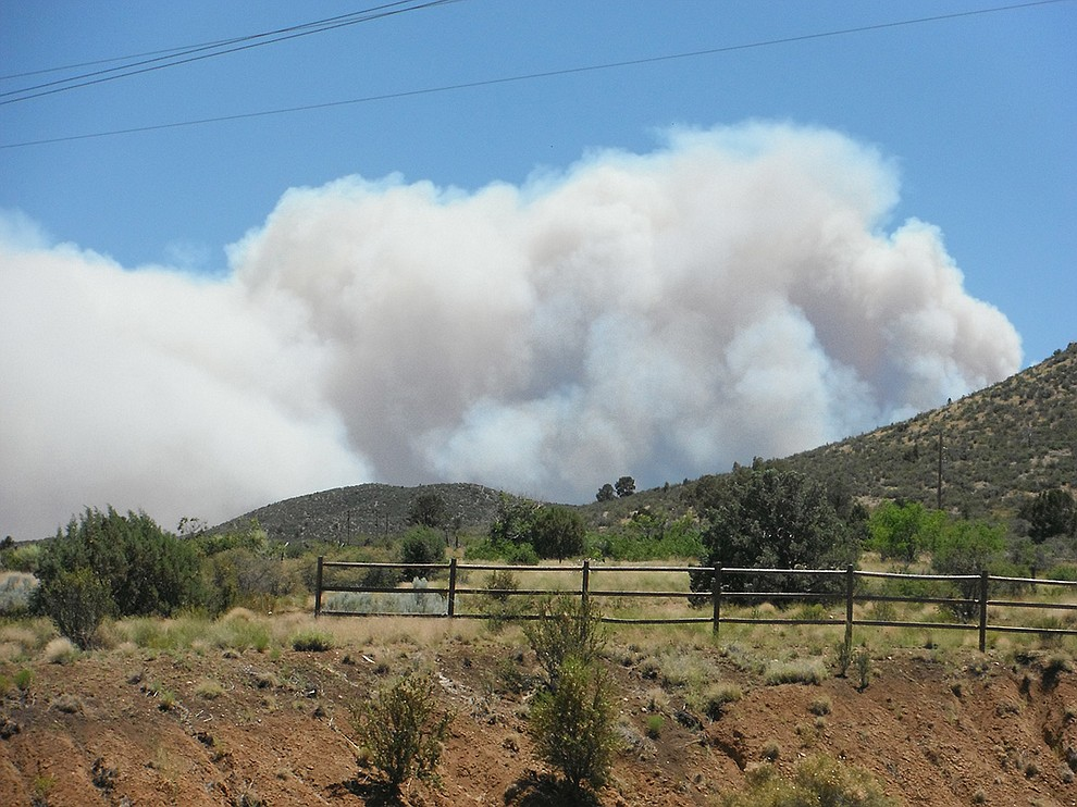 Courier reader Richard Patton submitted this photo of the Goodwin Fire taken from his home at the south end of Stoneridge in Prescott Valley at 1:10 p.m. on June 27, 201