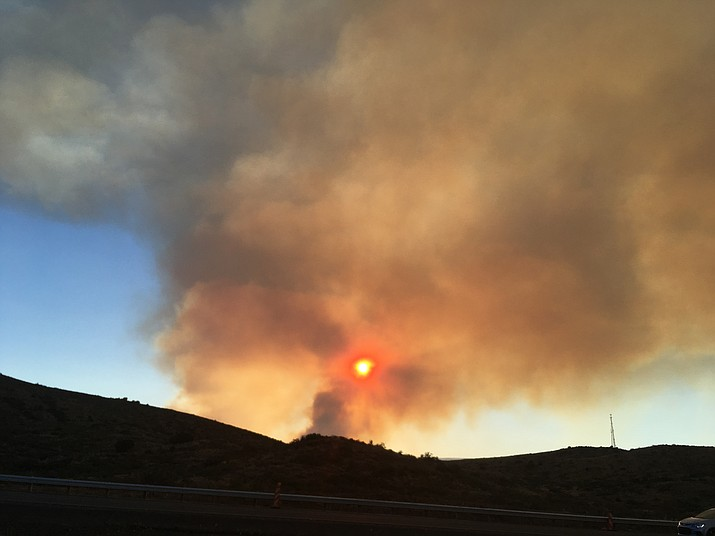 The Goodwin Fire was reported moving to the south and Arizona Department of Transportation officials closed Highway 69 between Interstate 17 and Highway 169 because of dense smoke. (VVN/Bill Helm)