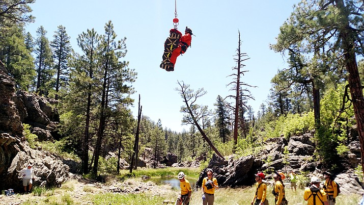 Coconino County Search and Rescue retrieves an injured hiker near Sycamore Canyon June 10.