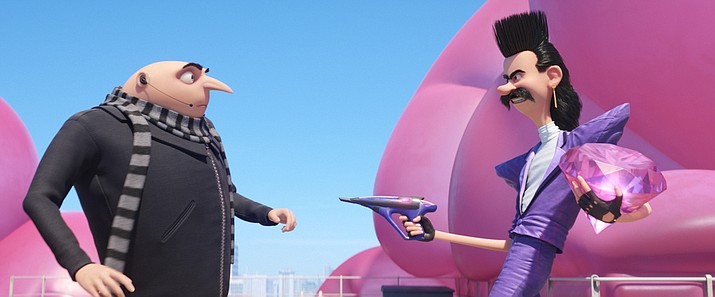 "Gru, voiced by Steve Carell, left, goes up against Balthazar Bratt,  voiced by Trey Parker, in a scene from ""Despicable Me 3."""