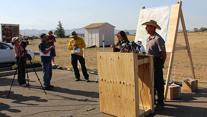 Todd Abel, Southwest Area Incident Management Team operations section chief, gives an update of the Goodwin Fire during a media briefing Thursday morning, June 29.