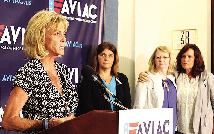 Mary Ann Mendoza, co-founder of Advocates for Victims of Illegal Alien Crime, speaks Tuesday at its launch.
