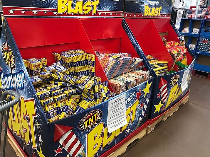 Fireworks like these were rapidly removed from Walmart shelves after Mohave County officials enacted countywide fire restrictions