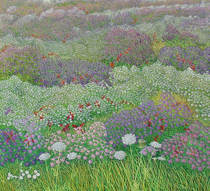 """Aster Fields Variation,"" by Gerald Moore, is a 60"" x 64"" oil on linen painting featured in ""American Experience"" opening 1st Friday, July 7th, 5-8 pm, at Lanning Gallery in Sedona."