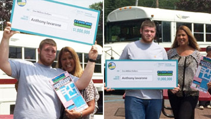 After stopping to put air in his tires, 19-year-old Anthony Iavarone decided to also buy a lottery ticket, which turned out to be a $1 million scratch-off winning ticket.