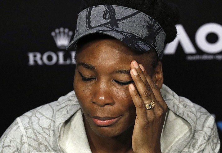 In this Jan. 28, 2017, file photo, Venus Williams answers questions at a press conference in Melbourne, Australia. Florida police said Thursday, June 29, 2017, that Williams was in a car crash earlier this month. Police said the June 9 crash was under investigation, but declined to give further details. (Kin Cheung/AP, File)