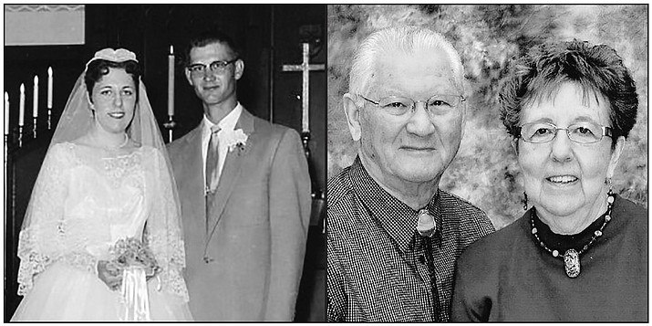 Wes and Joan Walker of Prescott Valley were married on June 23, 1957, at St. Peter's Lutheran Church in Scribner, Nebraska. A celebration was held for them with friends and families.