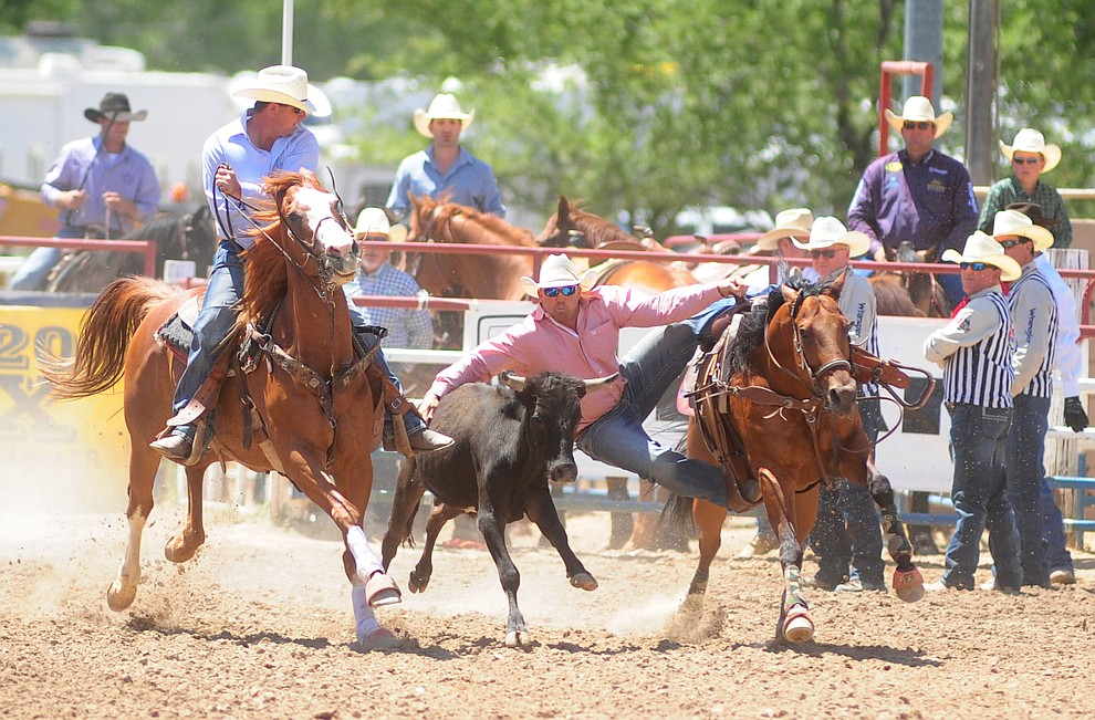 Trevor Duhon has a 4.9 second run in the steer wrestling during the 4th performance of the 2017 Prescott Frontier Days Rodeo at the Prescott Rodeo Grounds Saturday, July 1.  (Les Stukenberg/Courier)