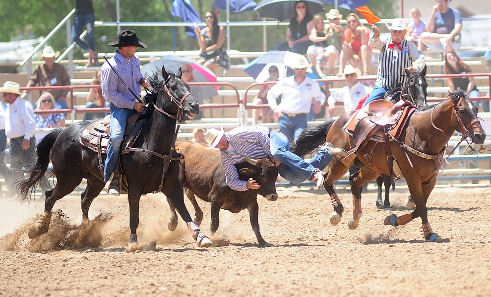Cimarron Thompson gets over the top of one in the steer wrestling during the 4th performance of the 2017 Prescott Frontier Days Rodeo at the Prescott Rodeo Grounds Saturday, July 1.  (Les Stukenberg/Courier)