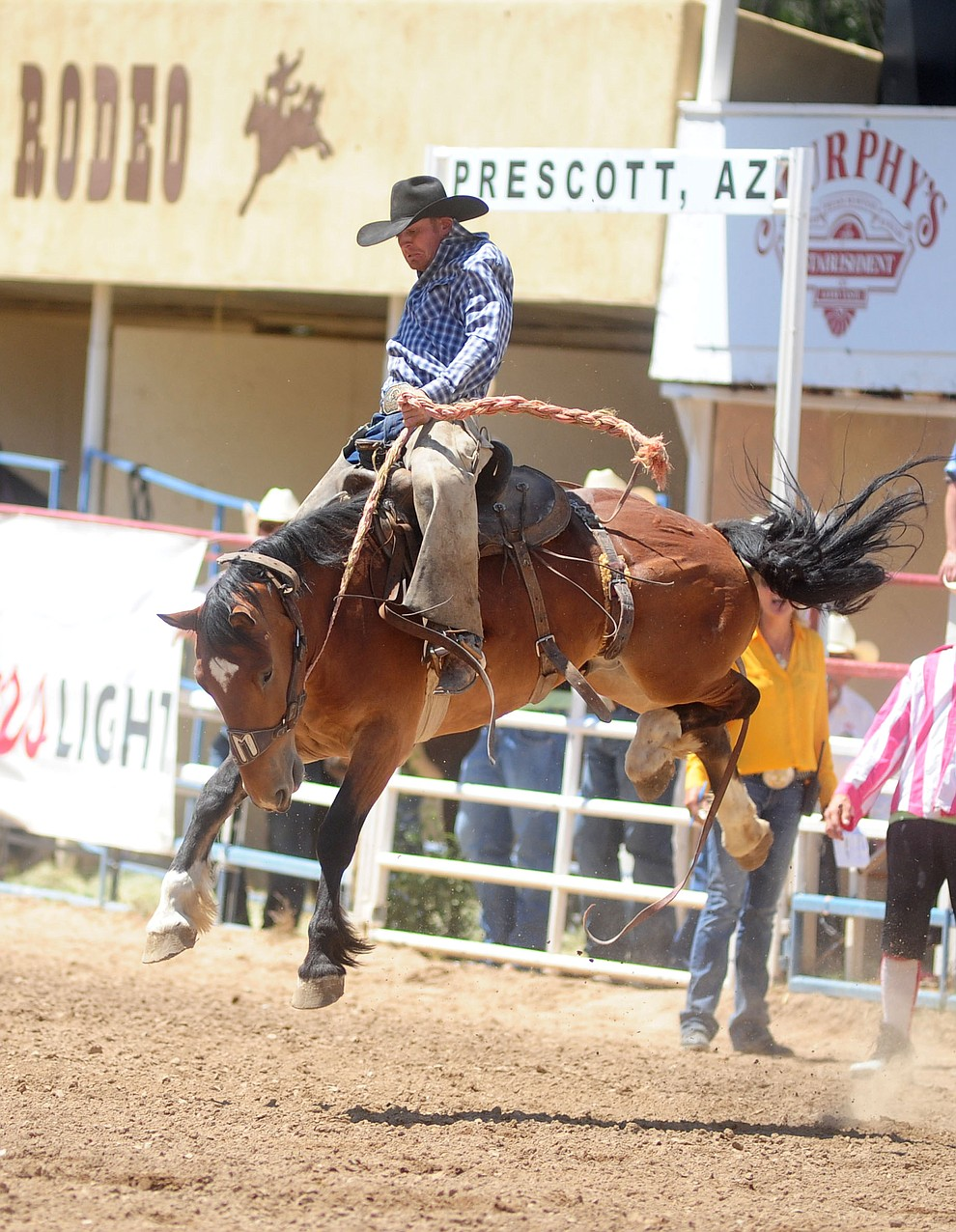 Zary May looks good early in the Cowpuncher's Ranch Bronc Riding during the 4th performance of the 2017 Prescott Frontier Days Rodeo at the Prescott Rodeo Grounds Saturday, July 1.  (Les Stukenberg/Courier)