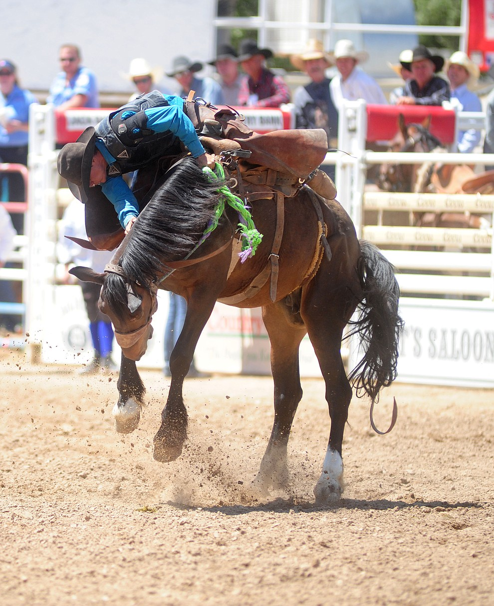 Jacob Phillips in the Cowpuncher's Ranch Bronc Riding during the 4th performance of the 2017 Prescott Frontier Days Rodeo at the Prescott Rodeo Grounds Saturday, July 1.  (Les Stukenberg/Courier)