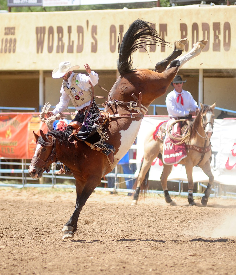 Ty Kirkland on Kate's Hot Sister during the 4th performance of the 2017 Prescott Frontier Days Rodeo at the Prescott Rodeo Grounds Saturday, July 1.  (Les Stukenberg/Courier)