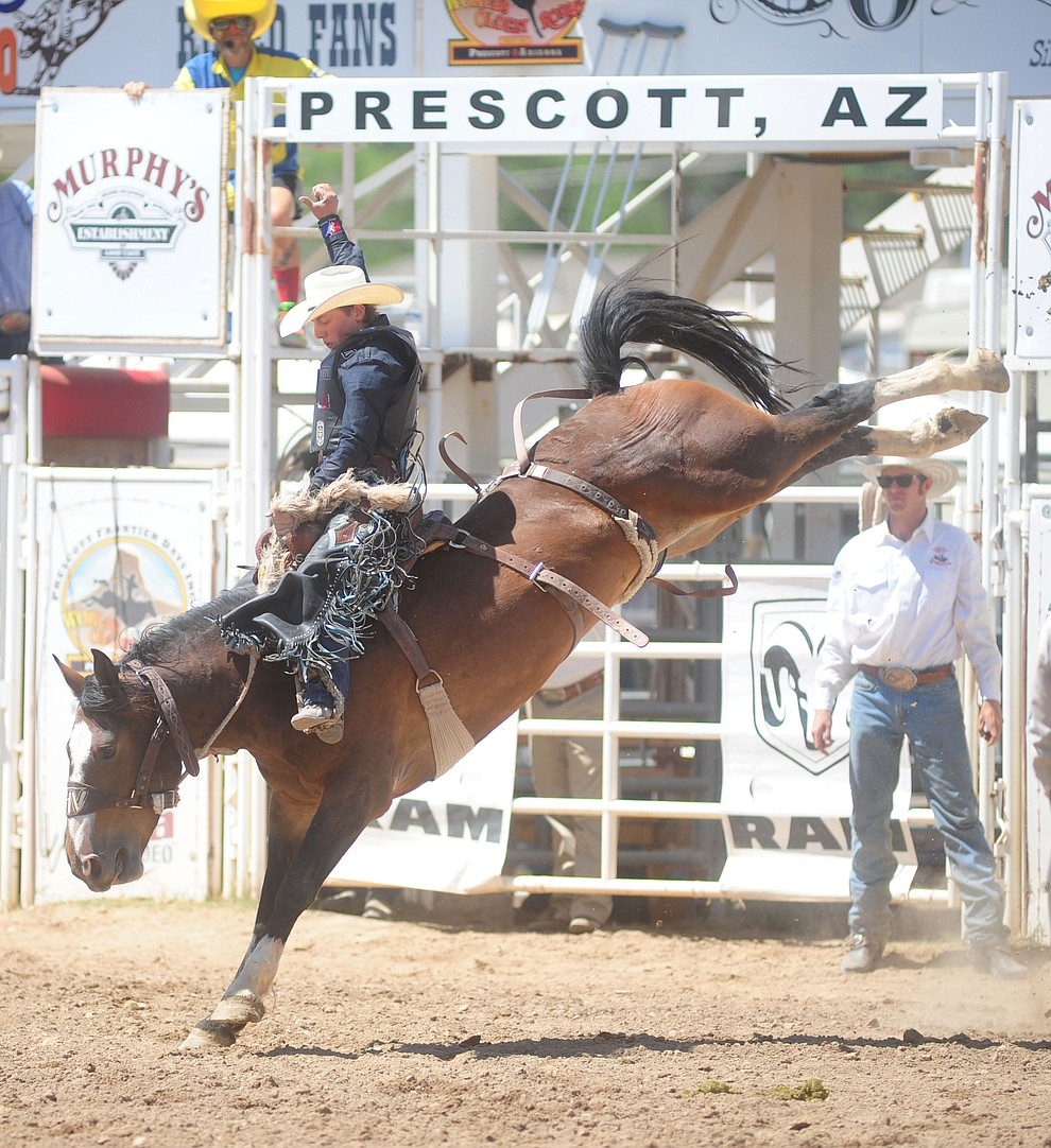 Rusty Wright scores 74 on Sale Day in the Saddle Bronc during the 4th performance of the 2017 Prescott Frontier Days Rodeo at the Prescott Rodeo Grounds Saturday, July 1.  (Les Stukenberg/Courier)