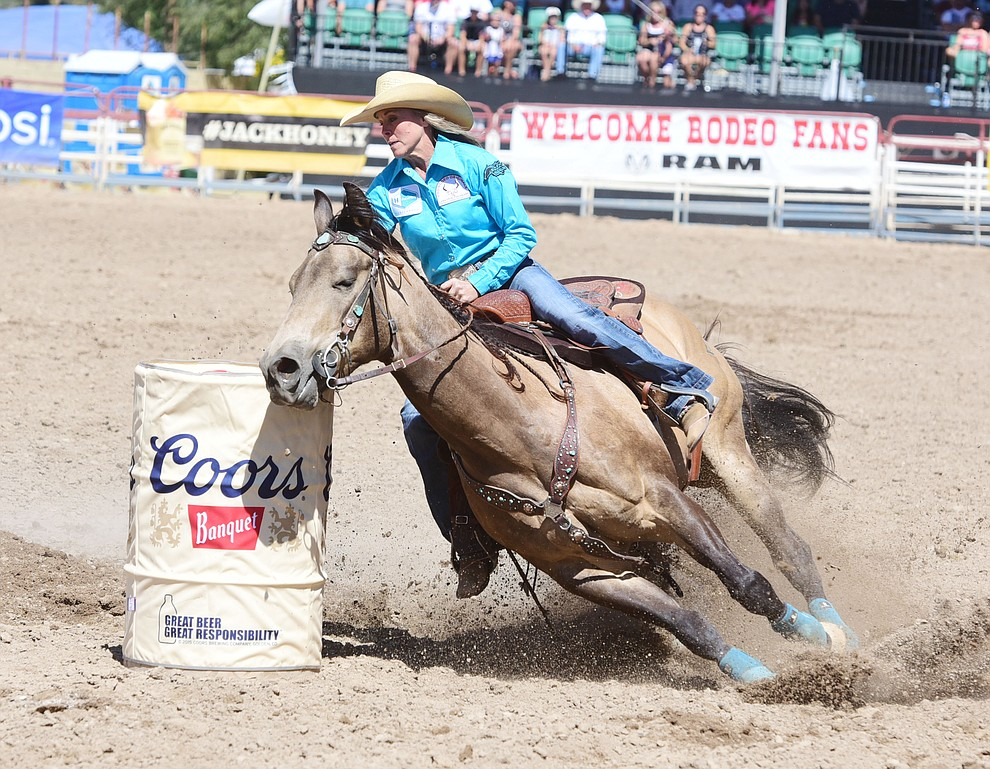 Kim Schulze ties for the lead with a 17.26 during the 4th performance of the 2017 Prescott Frontier Days Rodeo at the Prescott Rodeo Grounds Saturday, July 1.  (Les Stukenberg/Courier)
