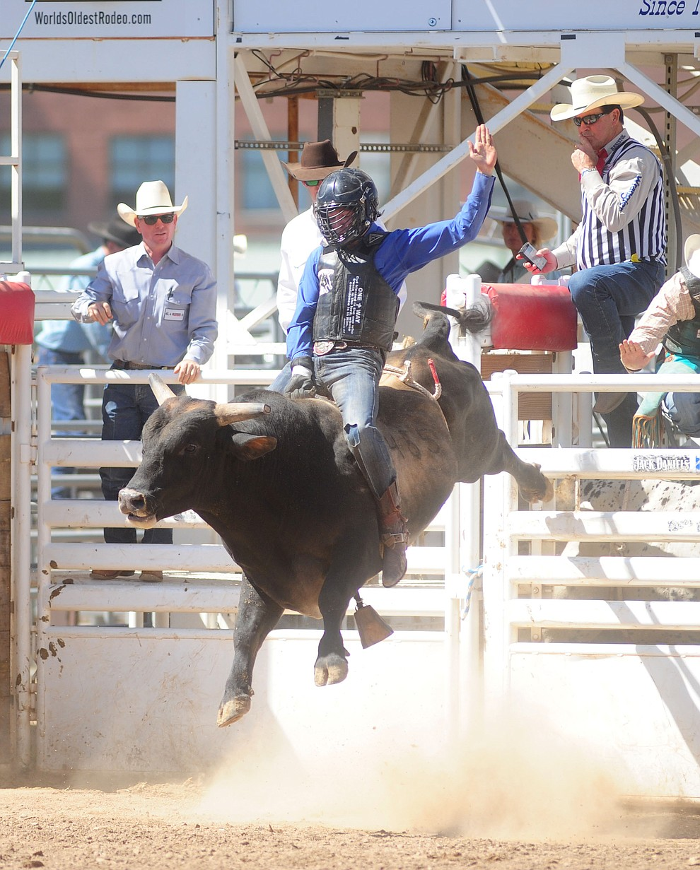 Cullen Telfer on Talented Mission during the 4th performance of the 2017 Prescott Frontier Days Rodeo at the Prescott Rodeo Grounds Saturday, July 1.  (Les Stukenberg/Courier)
