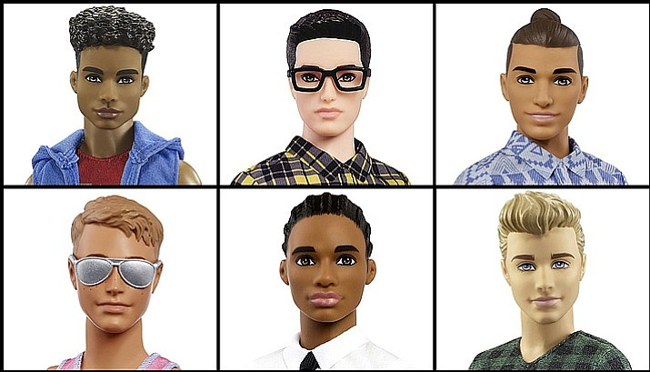 Mattel announced Tuesday, June 20, 2017, that the company is introducing 15 new looks for the the Ken doll, giving him new skin tones, body shapes and hair styles. (Courtesy of Mattel)
