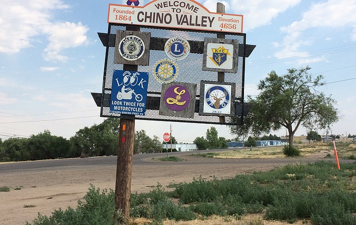 A car ran into this welcome sign on Highway 89 north of Chino Valley. Months later, it hasn't been fixed.