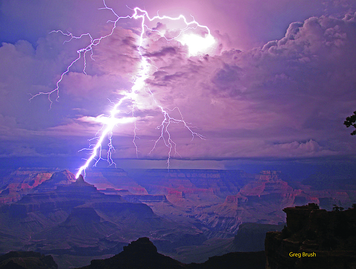 Since 2010, photographer Greg Brush has captured some of Grand Canyon's best lightning strikes.