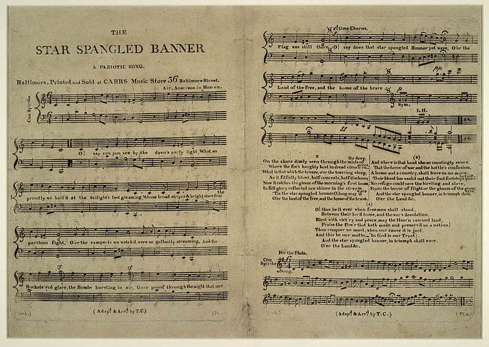 "This 1814 copy of ""The Star-Spangled Banner"" was the first printed edition to combine the words and sheet music. Copies such as these were sold from a catalog of Thomas Carr's Carr Music Store in Baltimore. Currently, this is one of only 10 copies known to exist, and is housed in the Library of Congress."