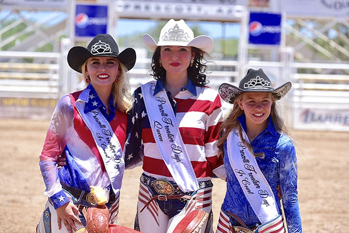 The Prescott Frontier Days royalty for 2018 are, from left: Senior Court Morgan Reid, Queen Sarah Grant, and Junior Court Carlee David. (Les Stukenberg/Courier)
