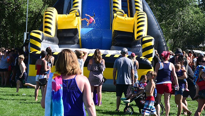 Prescott's Fourth of July celebration included live music, food, bouncy houses and water slides.