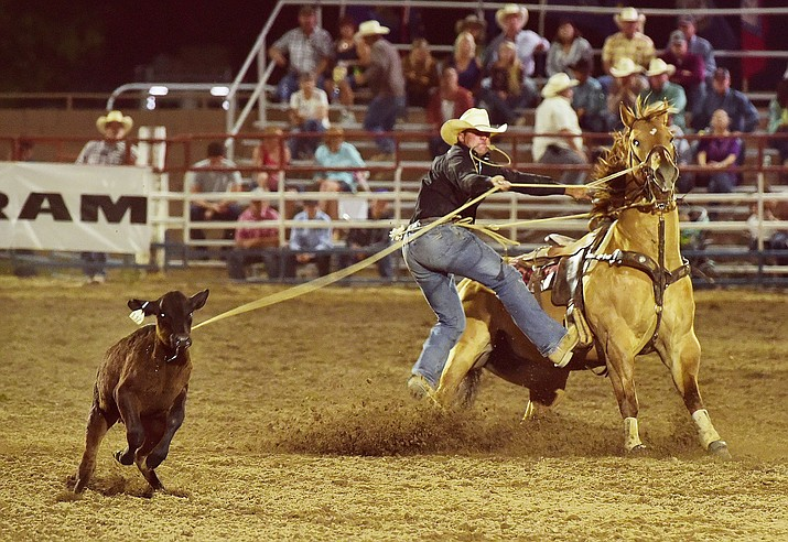 Trell Etbauer ran a 9.3 second run in the tie down roping during the opening performance of the Prescott Frontier Days Rodeo Wednesday, June 28 at the Prescott Rodeo Grounds.