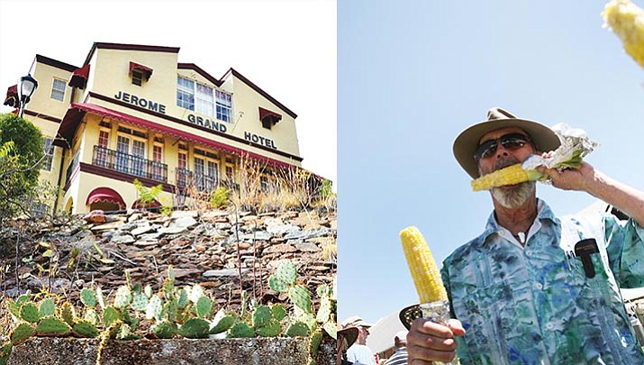 """Left: The Jerome Grand Hotel. (VVN/File Photo). Right: """"Fun town festivals"""" such as Cornfest, held this year on July 14-15, helped Camp Verde make The Crazy Tourist's list of 15 Best Small Towns to Visit in Arizona. (Photo by Bill Helm)"""